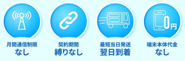「縛りなしWiFi」端末0円、翌日到着、契約期間縛りなし、月間通信制限なし.PNG